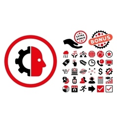 Cyborg flat icon with bonus vector