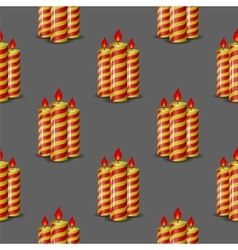 Red yellow wax candles seamless pattern vector