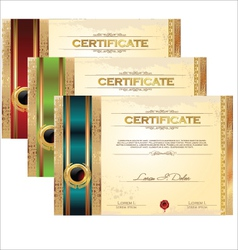 Golden certificate template set vector