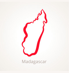 Outline map of madagascar marked with red line vector