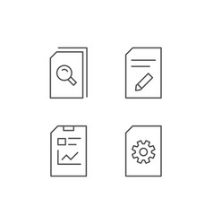 Document report and edit file line icons vector