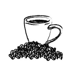 Porcelain cup and beans of coffee monochrome vector
