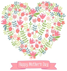 Happy mothers day floral heart vector image