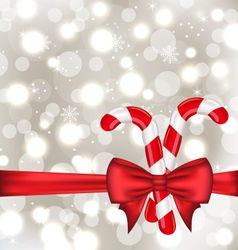 Christmas glowing background with gift bow and vector image