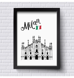 Patriotic or travel poster design for milan vector
