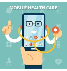 Mobile health care and medicine concept vector