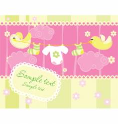 Baby arrival announcement card vector
