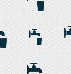 Faucet glass water icon sign seamless pattern with vector
