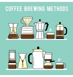 Coffee brewing methods different ways of making vector