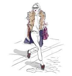 Model fashion sketch vector