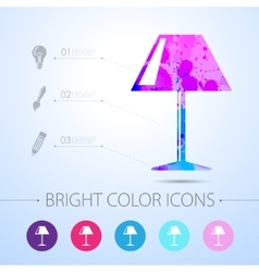 Reading-lamp icon with infographic vector