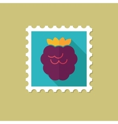 Raspberry flat stamp with long shadow vector