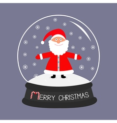 Cartoon santa claus crystal ball with snowflakes vector