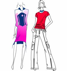 Fashion purple woman red man vector