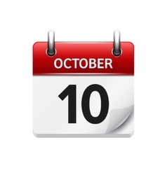 October 10 flat daily calendar icon date vector