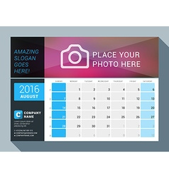 August 2016 design print calendar template for vector