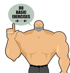 Big strong man raised his finger up bodybuilder vector