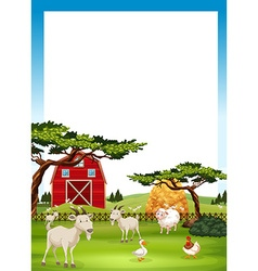 Border design with farm animals vector image