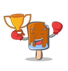 Boxing ice cream character cartoon winner vector
