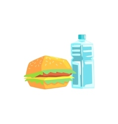 Burger and water lunch set items cool colorful vector