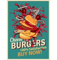 cheeseburger with splashes of explosion vector image vector image