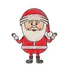 color crayon stripe cartoon of smiling santa claus vector image vector image