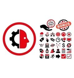 Cyborg flat icon with bonus vector