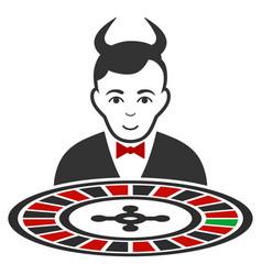 Devil roulette croupier flat icon vector