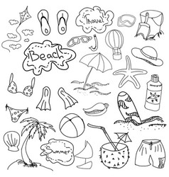 Drawn picture with summer stuff vector