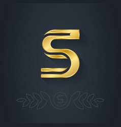 elegant gold font Letter S Template for company vector image