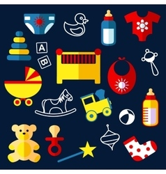 Flat baby toys and objects vector image