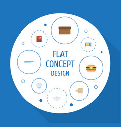 Flat icons cooking notebook breadboard teapot vector