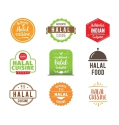 Halal cuisine label vector
