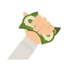 Hand holding dollar with gray sleeve vector