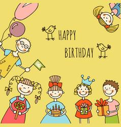 happy birthday kids greeting card vector image