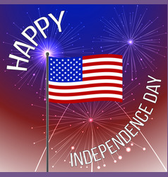 Independence day background with american flag and vector