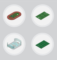 Isometric sport set of soccer ice games run vector