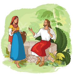 jesus and the samaritan woman at the well vector image vector image