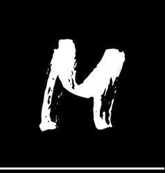 Letter m handwritten by dry brush rough strokes vector