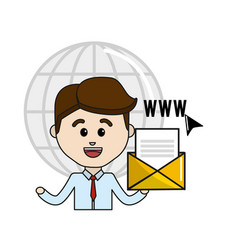 Man with global folder file virtual information vector