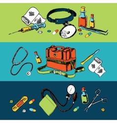 Medicine sketch icons color set vector image vector image