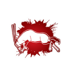 oryx jumping to attack with long horn vector image vector image