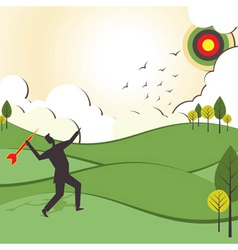 People hit to archery board vector