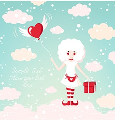 Romantic background with beautiful girl on the sky vector