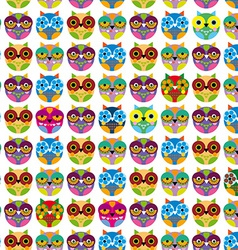 Seamless pattern with bright colored owls vector image