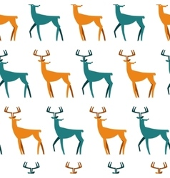 Seamless pattern with deers christmas background vector