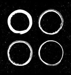 set of grunge white circle brush strokes vector image vector image