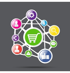 Shopping cart with social network icon connection vector image