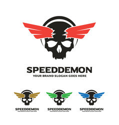 Skull wing logo speed demon logo vector