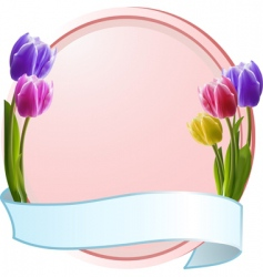 tulips on border with banner vector image vector image